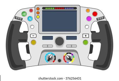 Vector illustration of steering wheel from sport car. F1 concept.
