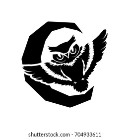 Vector illustration  Stencil owl with moon. Designer element for Halloween party. Stencil for pumpkin.