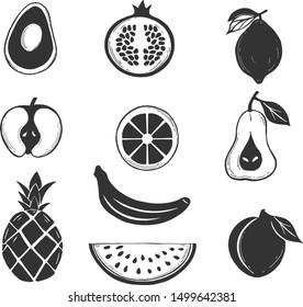 Vector illustration of stenciled fruits silhouette icons set. Avocado, apple, pineapple, watermelon slice, peach, banana, orange, citrus, pomegranate, lemon, pear. Vintage hand drawn style.
