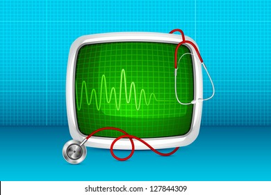 vector illustration of stethoscope with ECG monitor against medical background