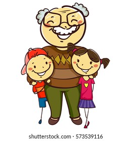 Vector Illustration of Stick Kids with Grandpa