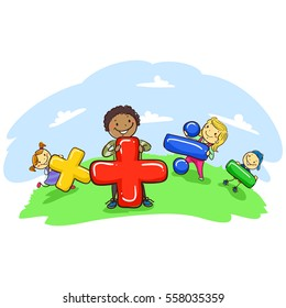 Vector Illustration of Stick Kids Holding Mathematical Symbol