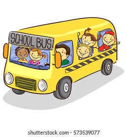 986858a609 Vector Illustration of Stick Kids on School Bus