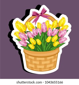 Vector illustration sticker of a basket with tulips