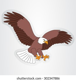 Vector illustration of the sticker with a cartoon eagle for kids.
