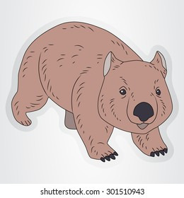 Vector illustration of the sticker with cartoon wombat for kids.