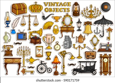 vector illustration of sticker collection for vintage and antique object