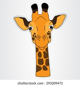 Vector illustration of the sticker with comic head of a giraffe