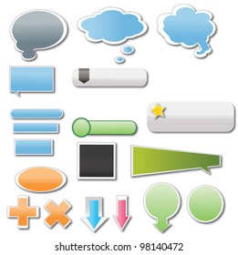 vector illustration of stickers and banners