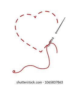 A vector illustration of stitched heart, needle with thread. Embroidery stylization with stitches. Background for Valentines day, marriage or betrothal