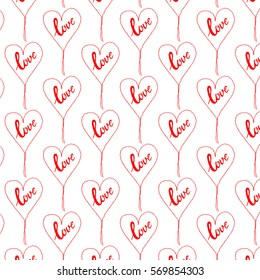 A vector illustration of stitched hearts pattern