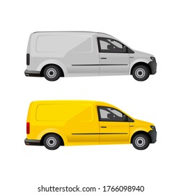 Vector illustration stock car, station wagon, Mercedes, Volkswagen, isolated yellow and gray silver transport.