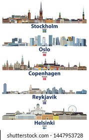 vector illustration of Stockholm, Oslo, Copenhagen, Reykjavik and Helsinki cities skylines with flags of Sweden, Norway, Denmark, Iceland and Finland