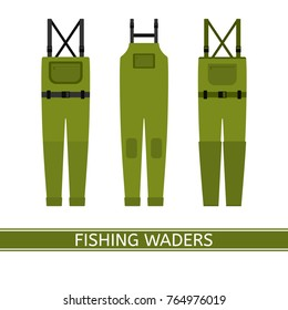 Vector illustration of stockingfoot fishing waders isolated on white background. Waterproof hunting clothing in flat style.