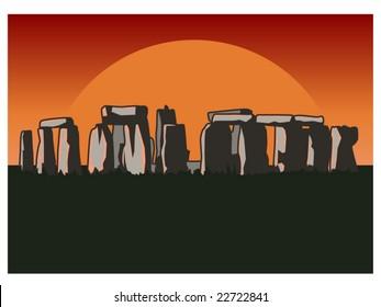 vector illustration of Stonehenge at sundown