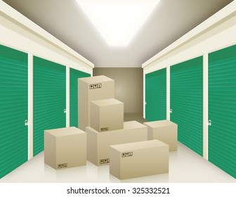 Vector illustration of storage with boxes.