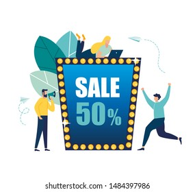 Vector illustration of a store, flyer, poster, banner, 50 percent discount.