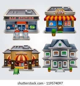 Vector illustration of store, gas station, cafe, fast food and house