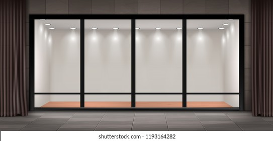 Vector illustration of storefront, glass illuminated showcase for presentations and museum exhibitions. Large shop window with curtains, empty fashion boutique or showroom with lights inside