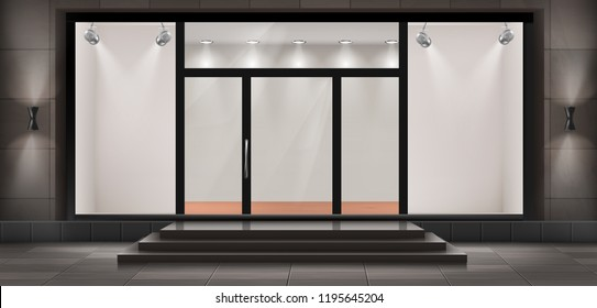 Vector illustration of storefront with steps and entrance door, glass illuminated showcase for presentations and museum exhibitions. Large shop window, empty fashion boutique or showroom with lights