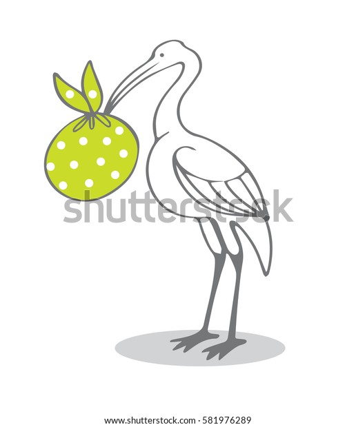 Vector illustration with stork and baby in green sack