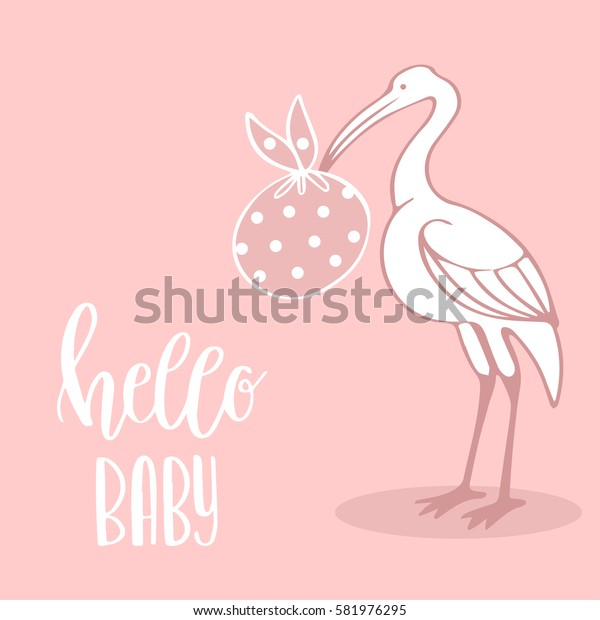 Vector illustration with stork and baby in pink sack