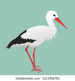 A vector illustration of a stork. The background is green