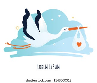 Vector illustration of a stork. Stork carrying a baby in a bag. Can be used for cards, flyers, posters, t-shirts.