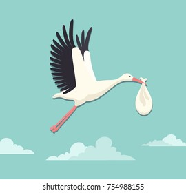 Vector illustration of stork flying with a baby in the sky. Flat style.