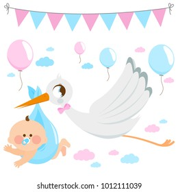 Vector Illustration of a stork flying in the sky and delivering a cute newborn baby.
