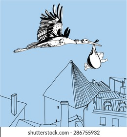 Vector Illustration of stork over the city with a baby