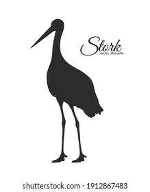 Vector illustration: Stork Silhouette isolated on white background.