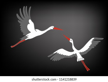 Vector illustration of storks on black gradient background, village and birds