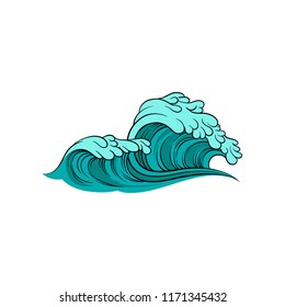 Vector illustration of stormy sea wave with foam. Blue ocean water. Marine theme. Element for poster of surfing competition