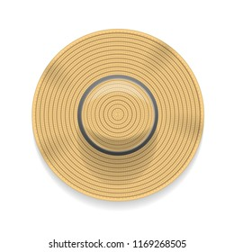 Vector illustration. Straw hat. Top view.