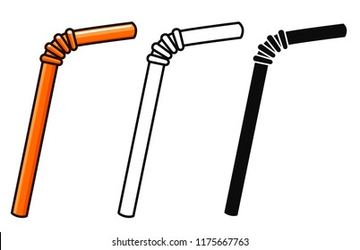 Vector illustration of straws on white background