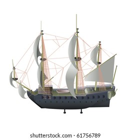 vector illustration, stream ship, card concept, white background.