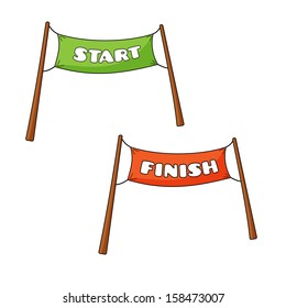 Vector illustration of streamers of Start and Finish in cartoon style