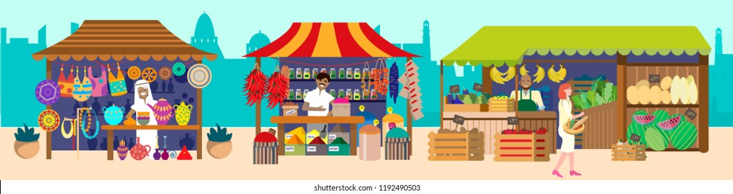 Vector illustration of street asian market with sellers. Souvenirs, pottery, spices, jewelry, fruits and vegetables. Flat vector illustration.