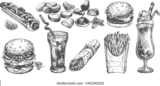 Vector illustration of street fast food collection set. Burger, double hamburger, hotdog, French fries, chicken nuggets with sauce, cola, milk shake, ice cream, burrito roll. Vintage hand drawn style