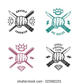 "Vector illustration street fighting club emblems with fist, knife, brass knuckles, bits and inscriptions. ""Street fighting club. Knuckle sandwich. No rules."""