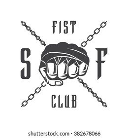Vector illustration street fighting club emblem with fist and chain for t shirt print.