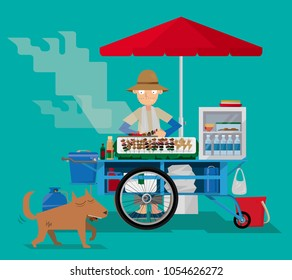 Vector illustration of a street food vendor in Thailand