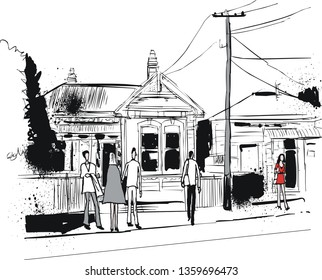 Vector illustration of street scene in Petone New Zealand showing old houses and pedestrians.