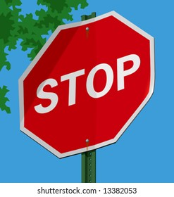 vector illustration of a street sign – Stop