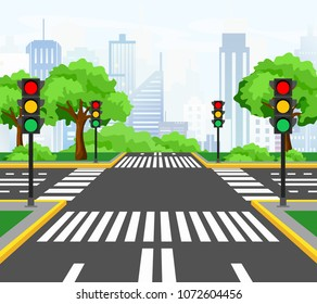Vector illustration of streets crossing in modern city, city crossroad with traffic lights, markings, trees and sidewalk for pedestrians. Beautiful cityscape on background.