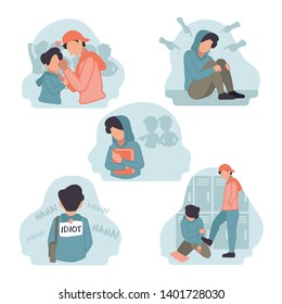 Vector Illustration of stress depression sad shocked male boy junior high school student bullied by senior teacher friend in college corridor hurt Hate speech, harassment, body shaming, gossip, pinch