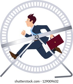 Vector illustration of a stressed businessman in a suit with a briefcase running in a hamster wheel