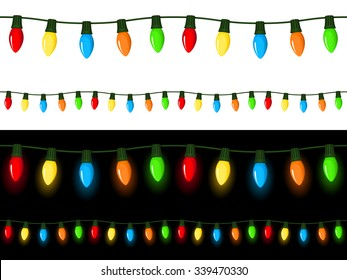 Vector illustration of strings of Christmas lights, with light and dark backgrounds. Can be attached end to end seamlessly.