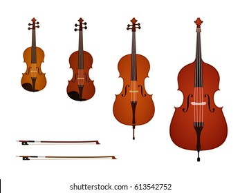 Vector illustration of strings instruments on white background. Violin, viola, cello, contrabass, bow. Elements for design. For card, poster, banner. Brown, red, orange, black, white, beige colors.